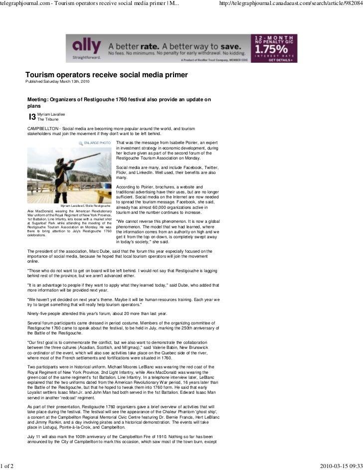 telegraphjournal.com - Tourism operators receive social media primer | M...                                               ...