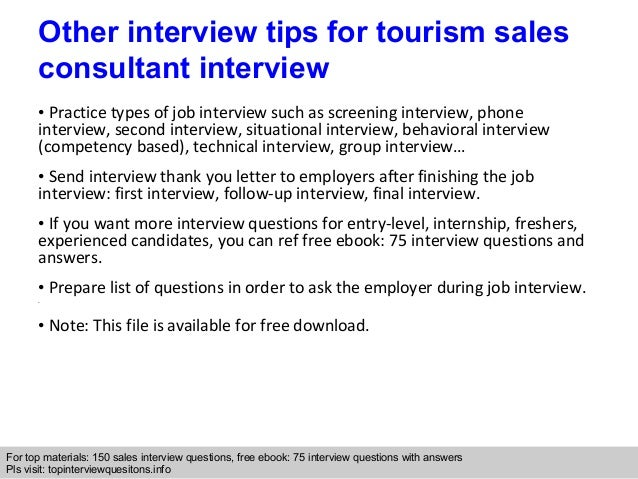 tourism sales consultant interview questions and answers