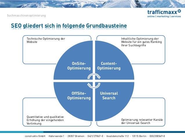 construktiv GmbH ·Haferwende 1 · 28357 Bremen · 0421/27867-0 · Invalidenstraße 112 · 10115 Berlin · 030/200569-0 SEO glied...