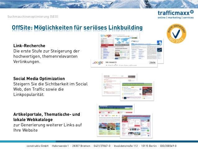 construktiv GmbH ·Haferwende 1 · 28357 Bremen · 0421/27867-0 · Invalidenstraße 112 · 10115 Berlin · 030/200569-0 OffSite: ...
