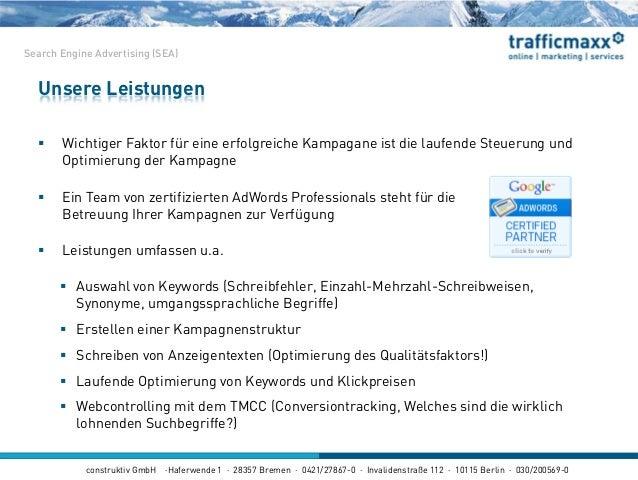 construktiv GmbH ·Haferwende 1 · 28357 Bremen · 0421/27867-0 · Invalidenstraße 112 · 10115 Berlin · 030/200569-0  Wichtig...