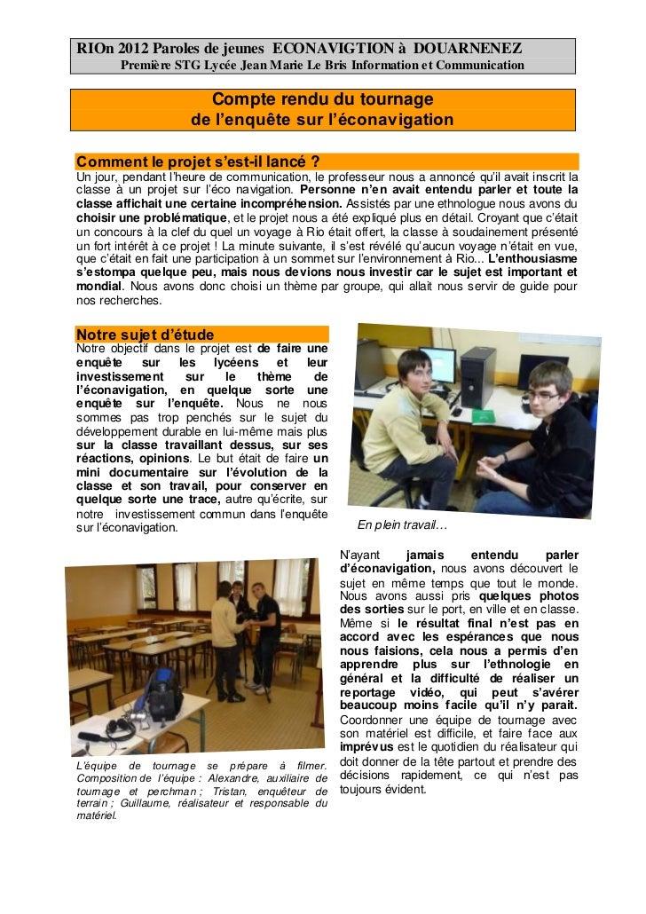 RIOn 2012 Paroles de jeunes ECONAVIGTION à DOUARNENEZ        Première STG Lycée Jean Marie Le Bris Information et Communic...
