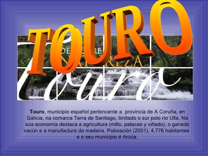 TOURO Touro , municipio español pertencente a  provincia de A Coruña, en Galicia, na comarca Terra de Santiago, limitado o...