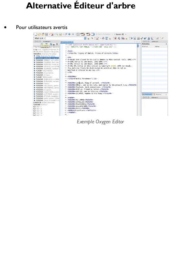 Alternative Éditeur d'arbre Pour utilisateurs avertis  Exemple Oxygen Editor