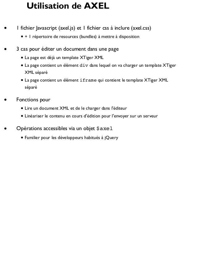Utilisation de AXEL 1 fichier Javascript (axel.js) et 1 fichier css à inclure (axel.css) + 1 répertoire de resources (bund...