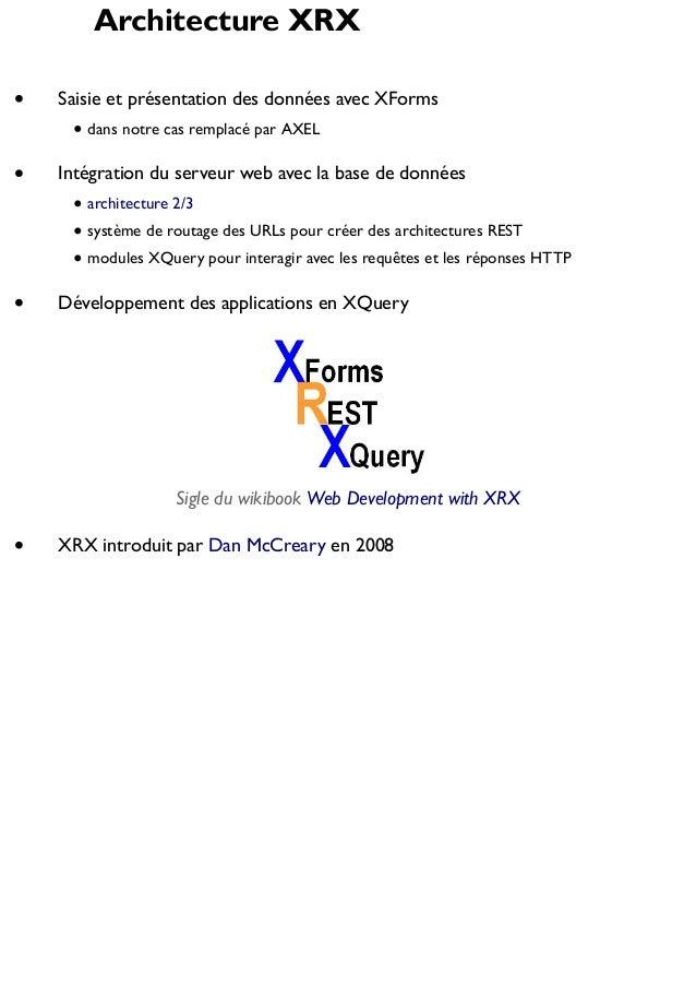 Architecture XRX Saisie et présentation des données avec XForms dans notre cas remplacé par AXEL  Intégration du serveur w...
