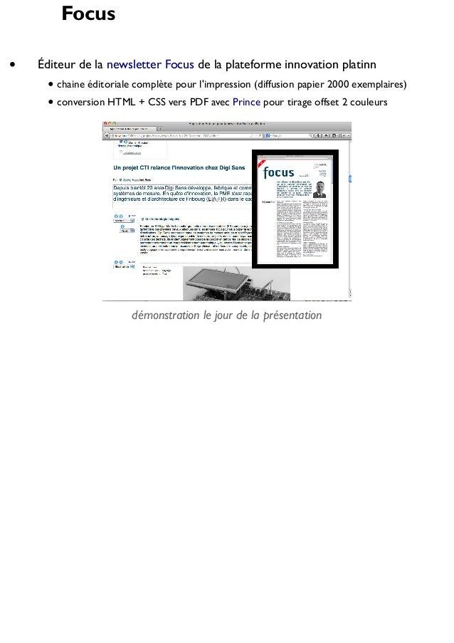 Focus Éditeur de la newsletter Focus de la plateforme innovation platinn chaine éditoriale complète pour l'impression (dif...