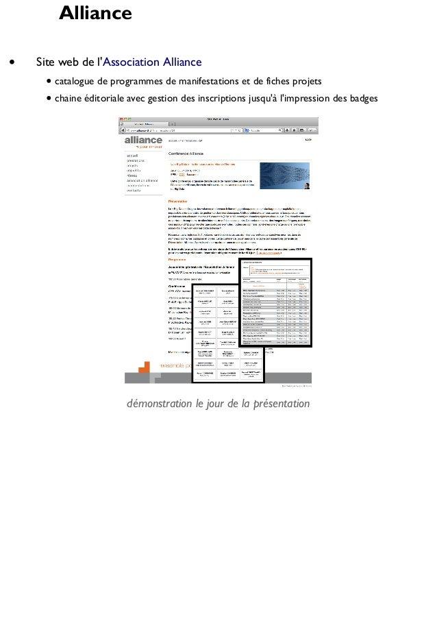 Alliance Site web de l'Association Alliance catalogue de programmes de manifestations et de fiches projets chaine éditoria...