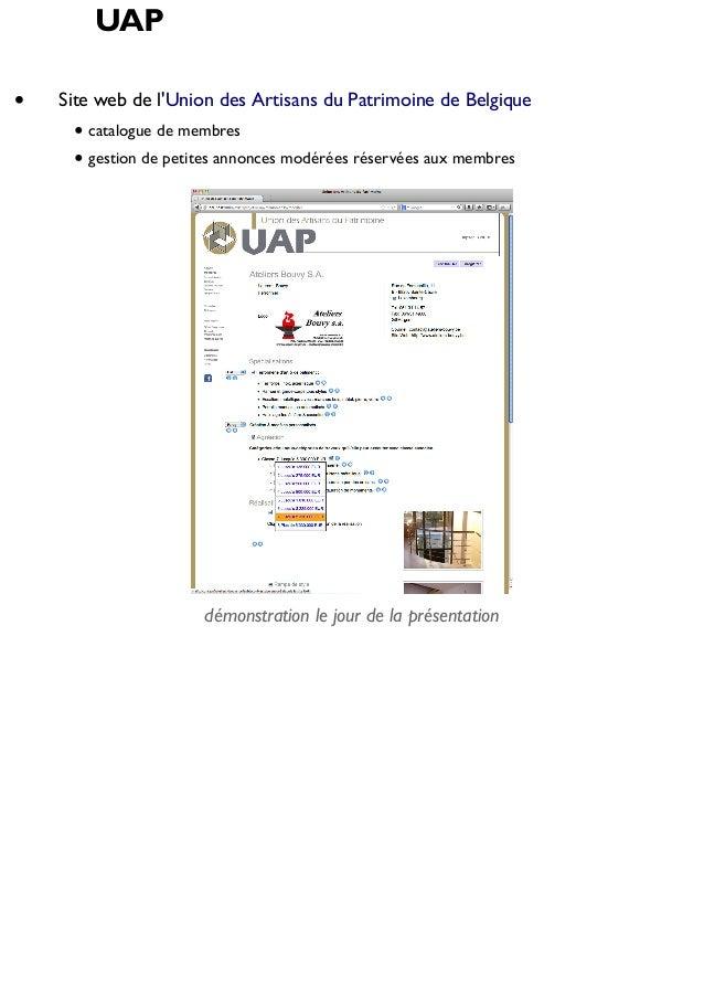 UAP Site web de l'Union des Artisans du Patrimoine de Belgique catalogue de membres gestion de petites annonces modérées r...