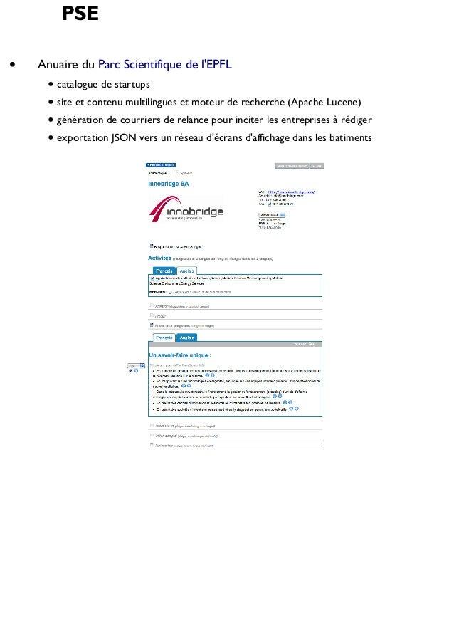 PSE Anuaire du Parc Scientifique de l'EPFL catalogue de startups site et contenu multilingues et moteur de recherche (Apac...
