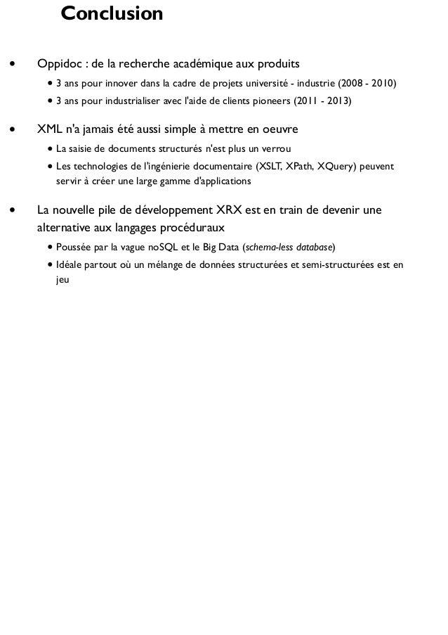 Conclusion Oppidoc : de la recherche académique aux produits 3 ans pour innover dans la cadre de projets université - indu...