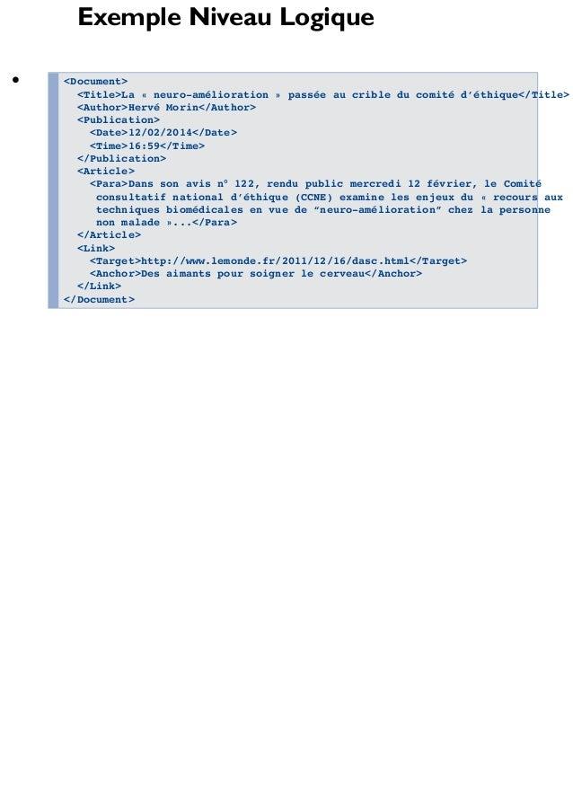 Exemple Niveau Logique <Document> <Title>La « neuro-amélioration » passée au crible du comité d'éthique</Title> <Author>He...