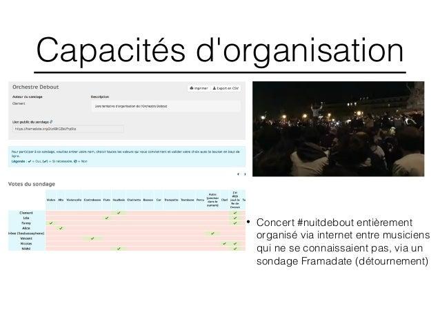 Capacités d'organisation • Concert #nuitdebout entièrement organisé via internet entre musiciens qui ne se connaissaient p...