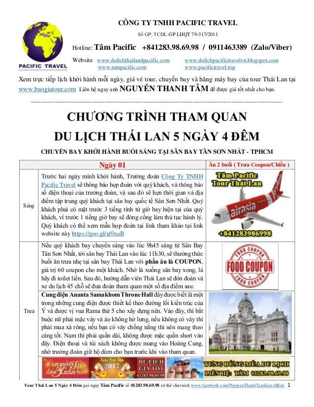 Tour Thái Lan 5 Ngày 4 Đêm gọi ngay Tâm Pacific số 01283.98.69.98 có thể chat nick www.facebook.com/NguyenThanhTamSearchBo...