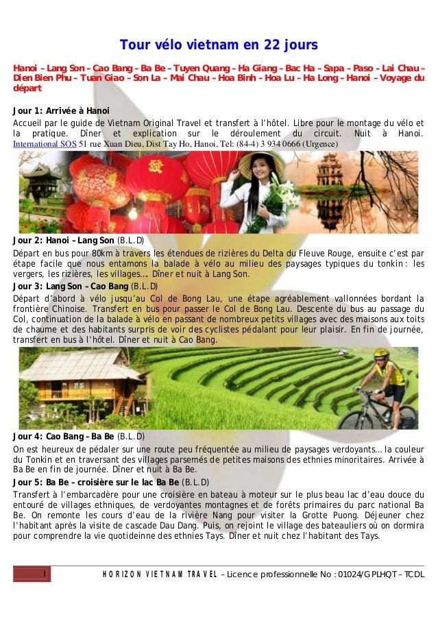 Tour vélo vietnam en 22 joursHanoi – Lang Son – Cao Bang – Ba Be – Tuyen Quang – Ha Giang – Bac Ha – Sapa – Paso – Lai Cha...