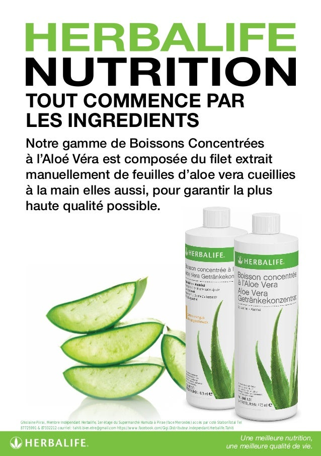 herbalife nutrition tout commence par les ingredients aloe vera ta. Black Bedroom Furniture Sets. Home Design Ideas