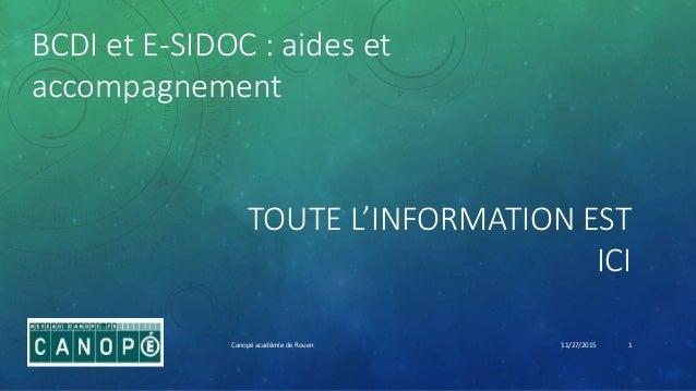 TOUTE L'INFORMATION EST ICI BCDI et E-SIDOC : aides et accompagnement 11/27/2015Canopé académie de Rouen 1