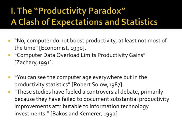 """I. The """"Productivity Paradox"""" A Clash of Expectations and Statistics<br />""""No, computer do not boost productivity, at leas..."""