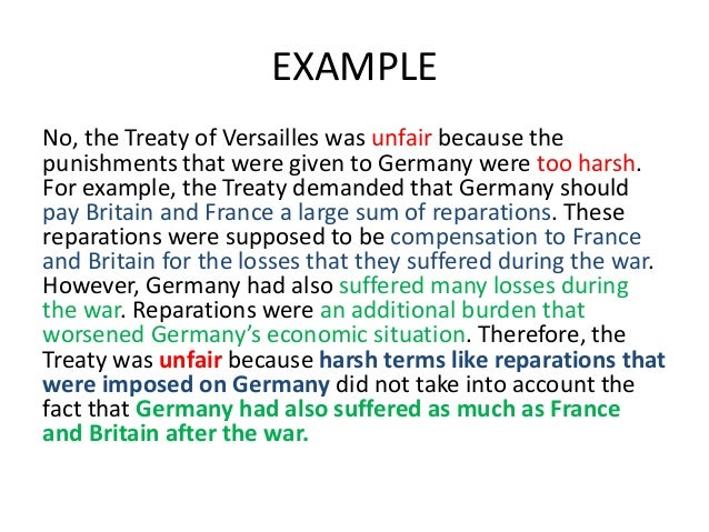 the treaty of versailles was unfair on germany essay In this essay i will be analysing and concluding whether i believe that the treaty of versailles was the main cause of the political and economic instability in germany between 1919 and 1923.