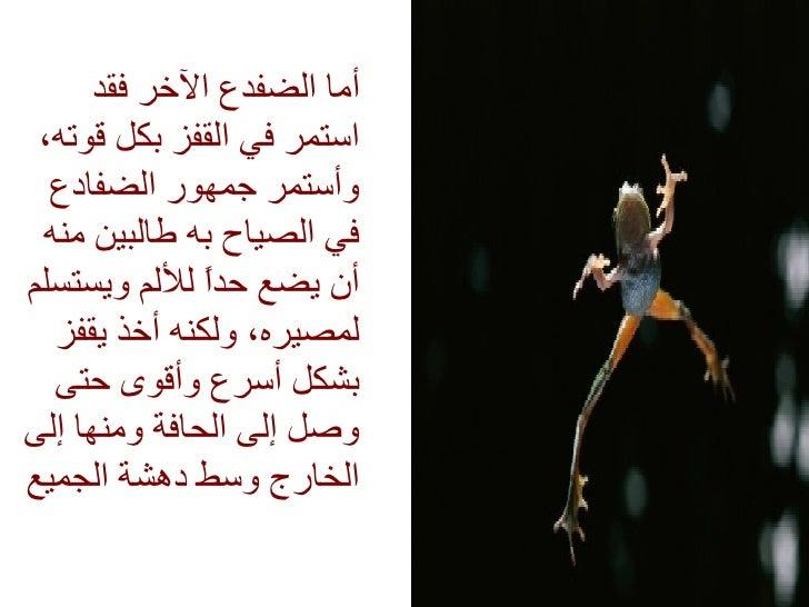<ul><li>أما الضفدع الآخر فقد استمر في القفز بكل قوته، وأستمر جمهور الضفادع في الصياح به طالبين منه أن يضع حداً للألم ويستس...