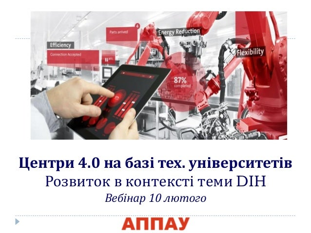 Центри 4.0 на базі тех. університетів Розвиток в контексті теми DIH Вебінар 10 лютого