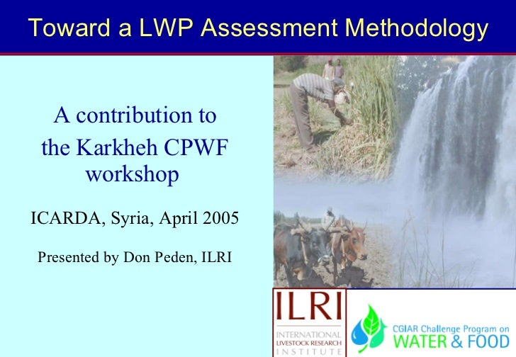 Toward a LWP Assessment Methodology A contribution to the Karkheh CPWF workshop  ICARDA, Syria, April 2005 Presented by Do...