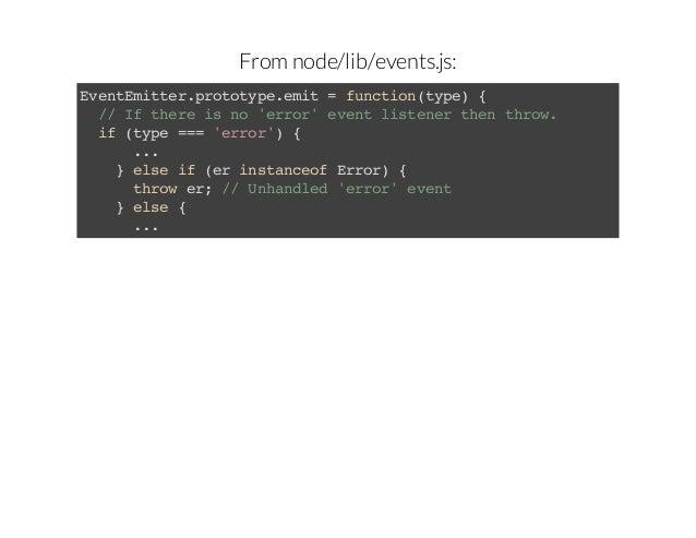 From node/lib/events.js: Eetmte.rttp.mt=fnto(ye { vnEitrpooyeei ucintp) / I teei n 'ro'eetlsee te trw / f hr s o err vn it...