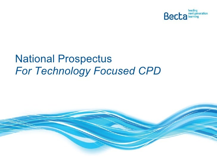 National Prospectus For Technology Focused CPD