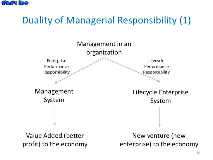 Duality of Managerial Responsibility (1)                        Management in an                          organization    ...