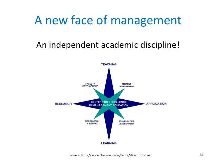 A new face of managementAn independent academic discipline!        Source: http://www.cbe.wwu.edu/ceme/description.asp   22