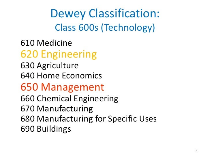 Dewey Classification:        Class 600s (Technology)610 Medicine620 Engineering630 Agriculture640 Home Economics650 Manage...