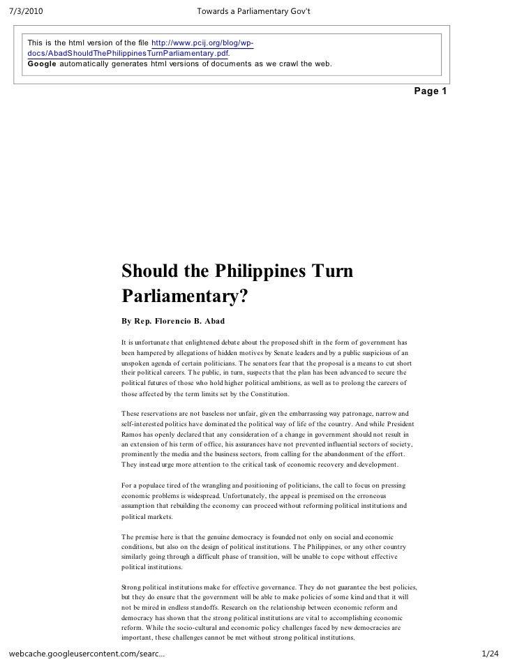 Towards a parliamentary gov't   butch abad