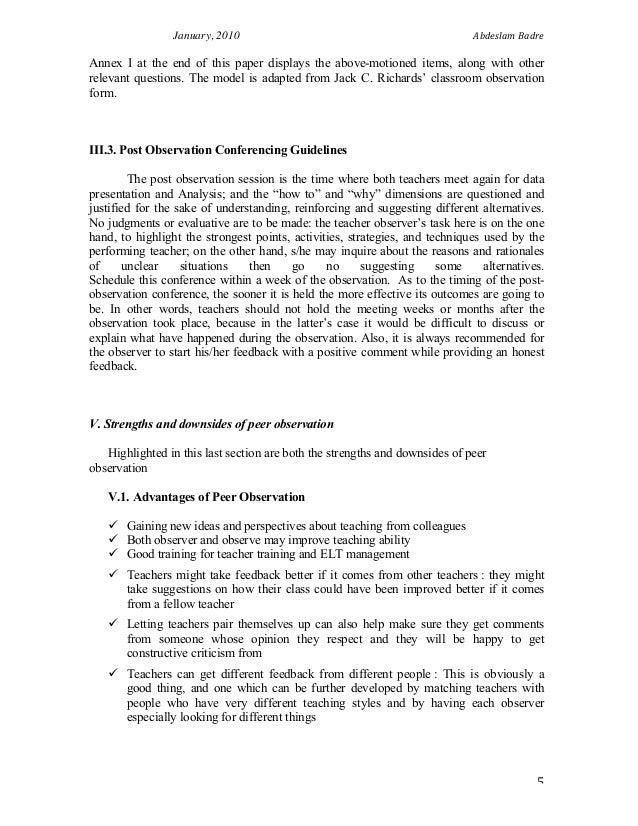Student observation essay