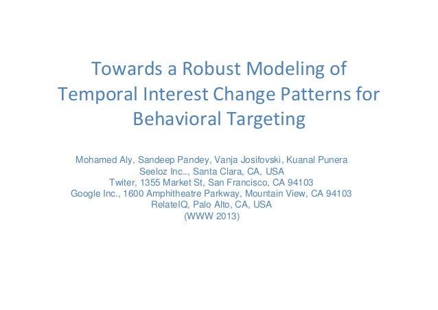 Towards a Robust Modeling of Temporal Interest Change Patterns for Behavioral Targeting Mohamed Aly, Sandeep Pandey, Vanja...