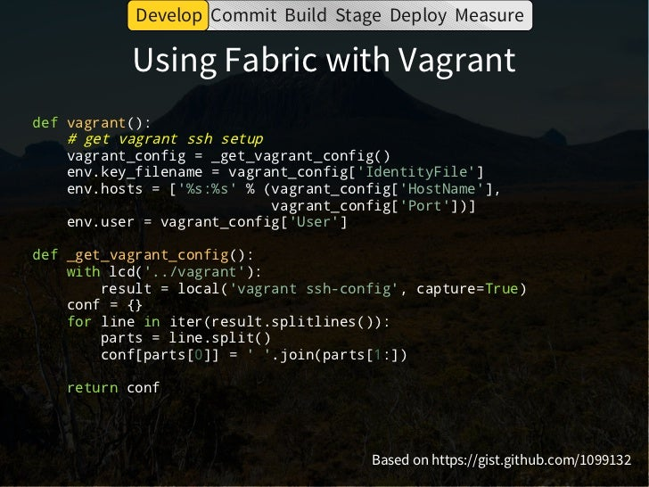 Develop Commit Build Stage Deploy Measure                         Dependencies●   virtualenv – separate env for each app● ...