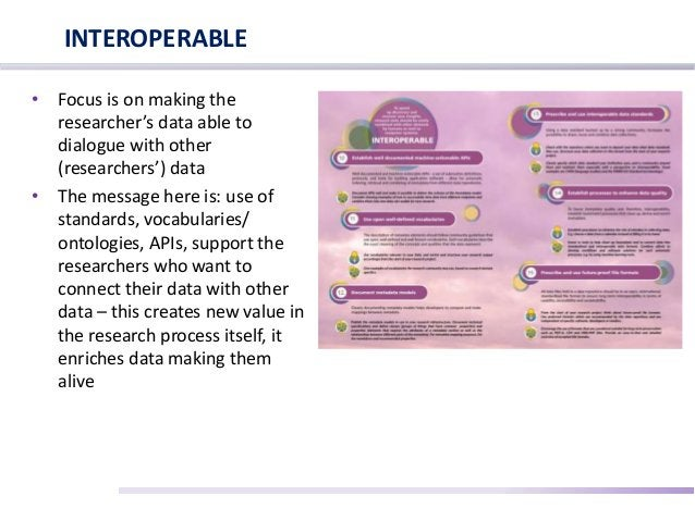 • Focus is on making the researcher's data able to dialogue with other (researchers') data • The message here is: use of s...