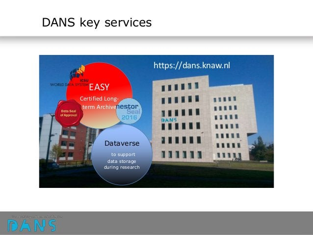 Dataverse to support data storage during research EASY Certified Long- term Archive DANS key services https://dans.knaw.nl