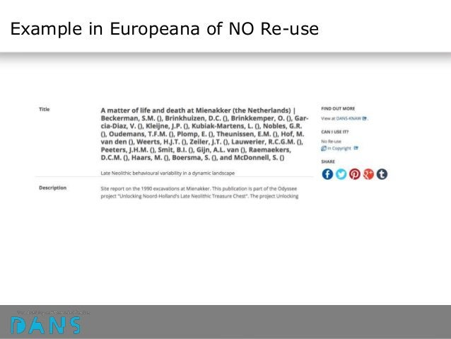 Example in Europeana of NO Re-use