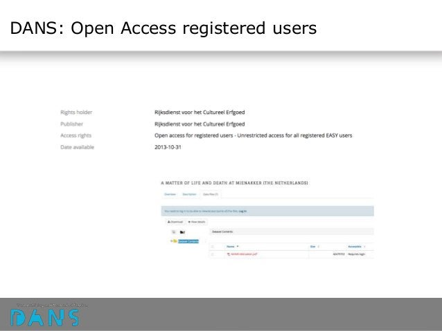 DANS: Open Access registered users