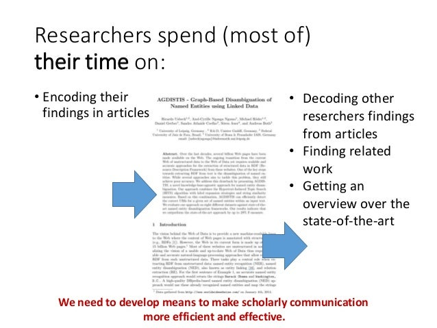 Researchers spend (most of) their time on: • Encoding their findings in articles • Decoding other reserchers findings from...
