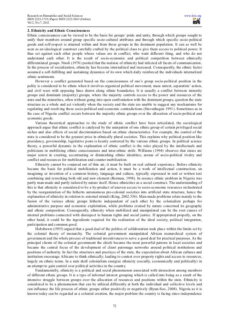 ethnic group conflict paper 2014-7-31 my first conference paper on ethnic nepotism  single explanatory variable or a single mono-causal explanation for ethnic conflict  bers of an ethnic group to.