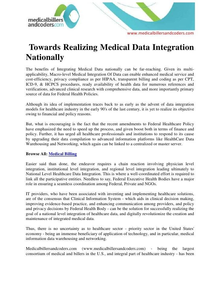 Towards Realizing Medical Data Integration Nationally<br />The benefits of Integrating Medical Data nationally can be fa...