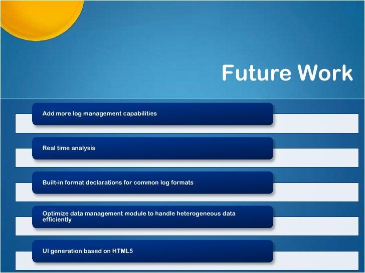 Future WorkAdd more log management capabilitiesReal time analysisBuilt-in format declarations for common log formatsOptimi...