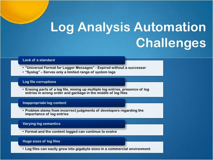 """Log Analysis Automation                              ChallengesLack of a standard• """"Universal Format for Logger Messages"""" ..."""