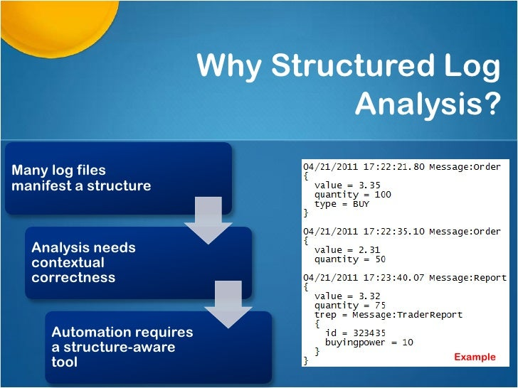 Why Structured Log                                    Analysis?Many log filesmanifest a structure  Analysis needs  context...