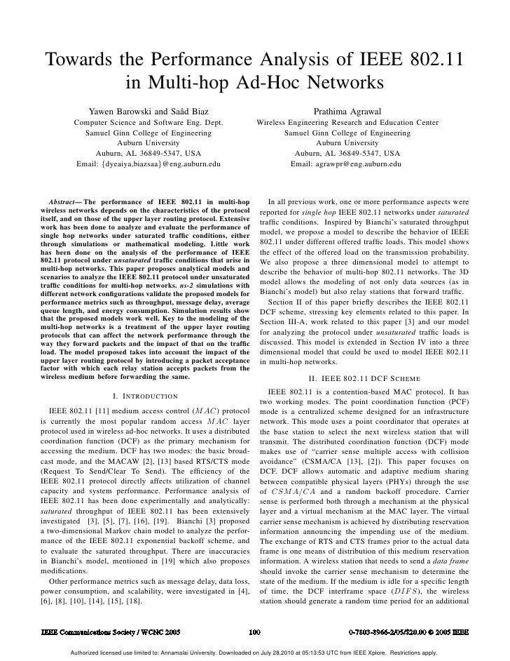 Towards the Performance Analysis of IEEE 802.11          in Multi-hop Ad-Hoc Networks               Yawen Barowski and Saˆ...