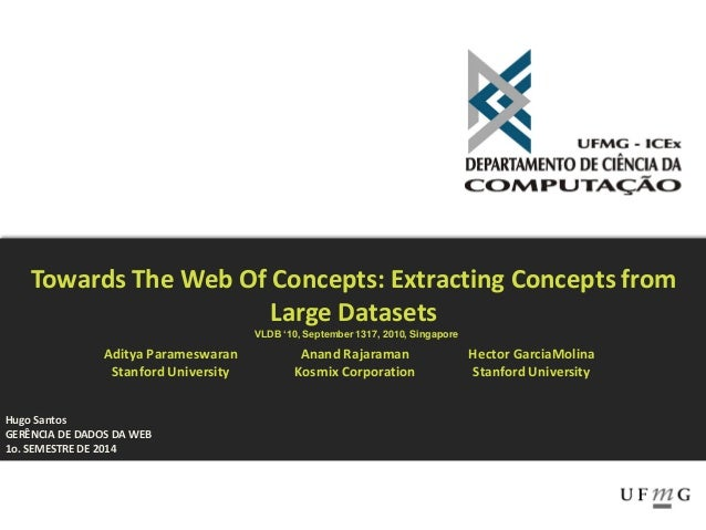 Hugo Santos GERÊNCIA DE DADOS DA WEB 1o. SEMESTRE DE 2014 Towards The Web Of Concepts: Extracting Concepts from Large Data...