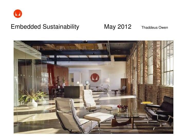 Embedded Sustainability   May 2012   Thaddeus Owen