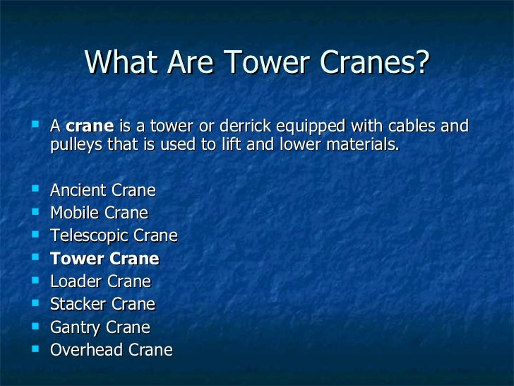 Tower Crane Vs Mobile Crane : Tower crane basics
