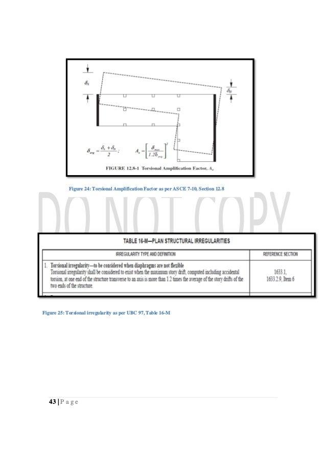 43   P a g e Figure 24: Torsional Amplification Factor as per ASCE 7-10, Section 12.8 Figure 25: Torsional irregularity as...